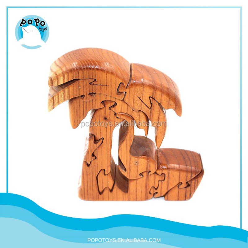 Wood paint eco-friendly three-dimensional puzzle tree toy