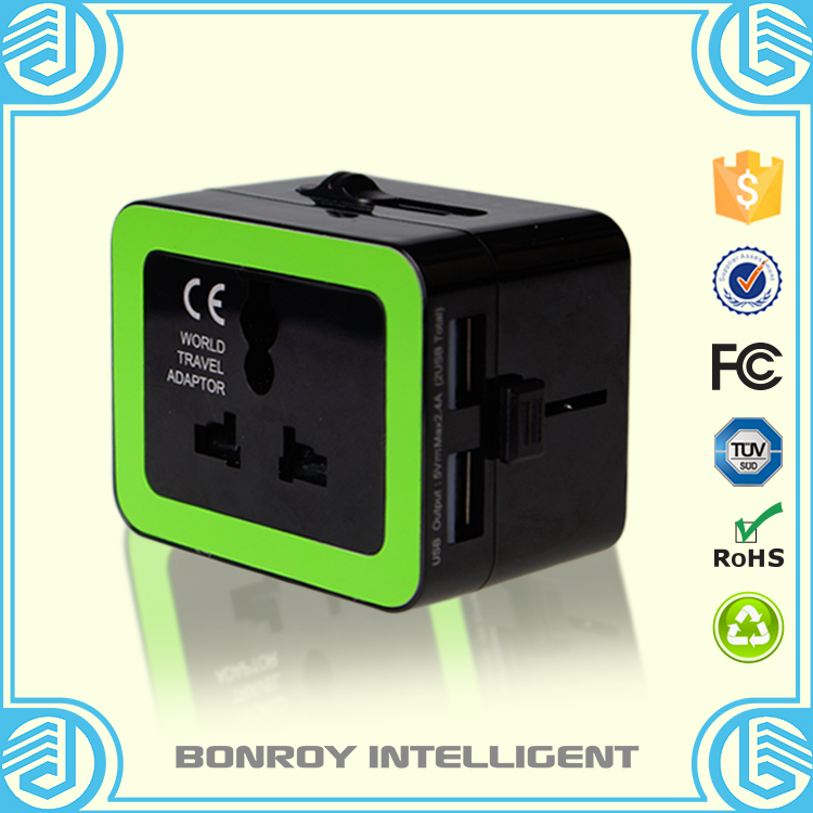 2016 New Product 2 Ports USB usa travel adapter for EU/USA/UK Travel Plug Adapter