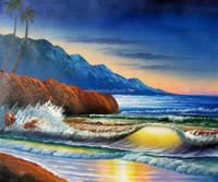 Coconut tree landscape painting modern tropical scenery oil paintings