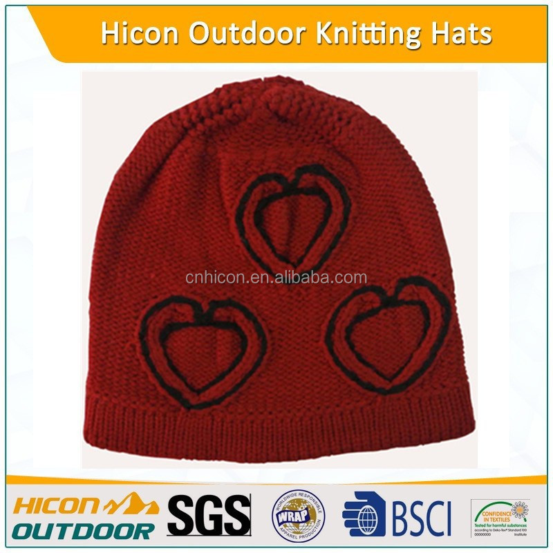 red acrylic jacquard winter knitted hat