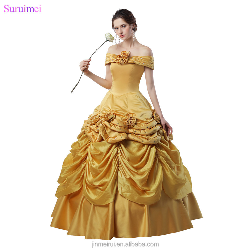 Latest Design Ball Gown Prom Dresses Handmade Flowers Gold Taffeta Girls Graduation 18 Years Prom Gown Quanceanera Dresses