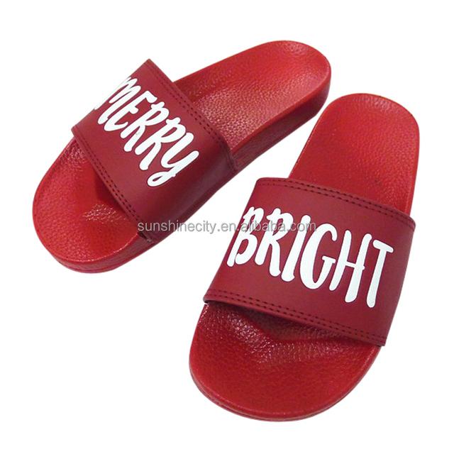Red Pvc Women Slide Sandal Custom Logo Slide Sandal