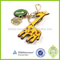 Promotional gift new animal design leather material OEM keyrings