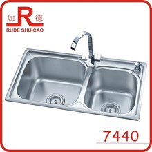 7440 double round bowl kitchen sink