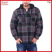 Winter clothing thick plaid flannel shirt with hood