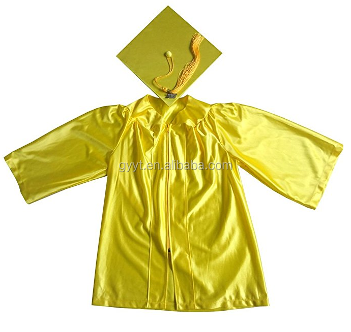 Gold Kids Graduation gowns chlidren hats