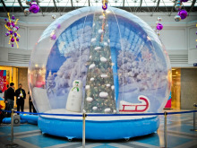 Lowes yard decor logo printing christmas inflatable snow globe, giant snow globe, christmas photo snow globes with high quality