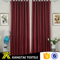 Red color modern style, living room plain polyester curtain for wholesale