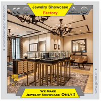 JK1001 304# stainless steel jewelry display showcase for shop decoration design