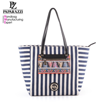 3509- Navy Strap Spring Summer Canvas shopper Bag from guangzhou canvas handbag bag manufacturer