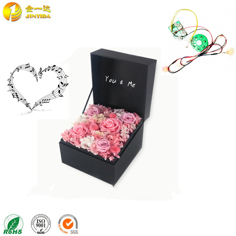 Custom Song Electronic Square Paperboard Flower Music Box