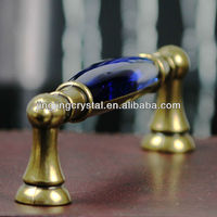 Blue Crystal Handle with Brass Zinc Alloy Hardware 128mm