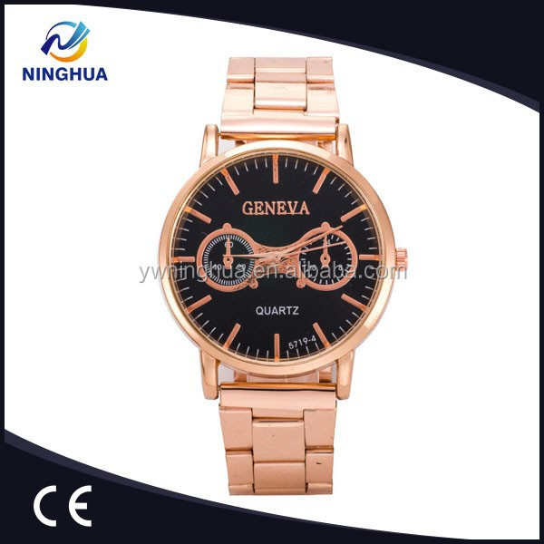 New Arrival Top Selling Rose Gold Men Watch Alloy Strap Black Face Watches Men Dress
