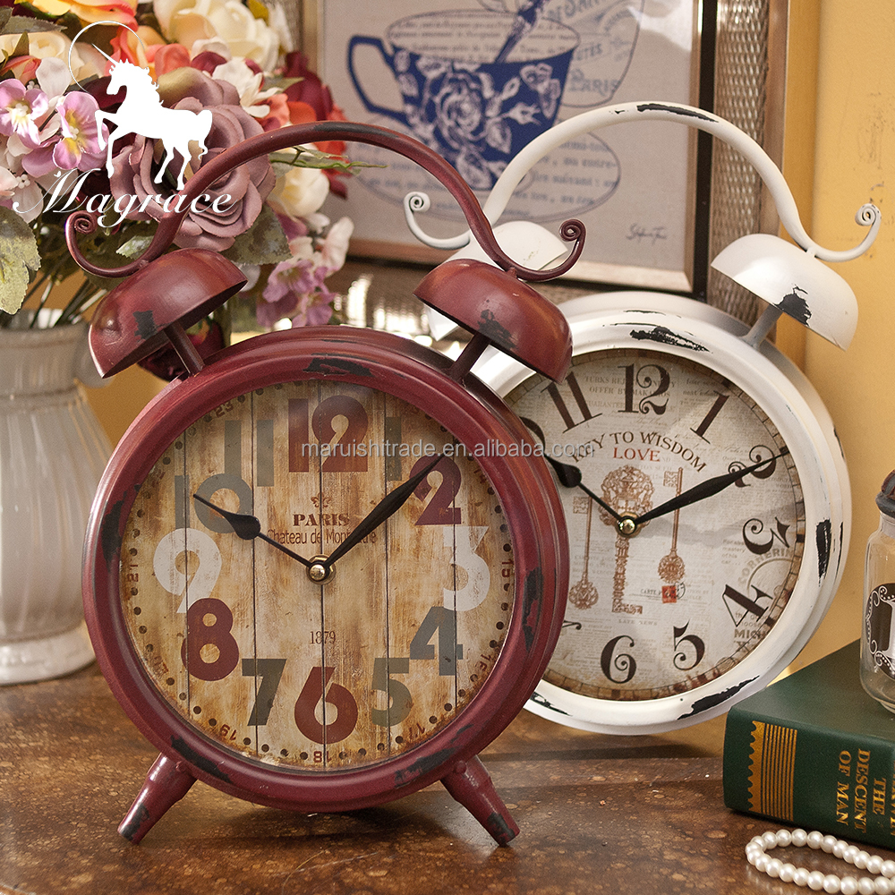 Europe/American red and white antique 8inch table clock metal baking finish hand painted vintage table clock