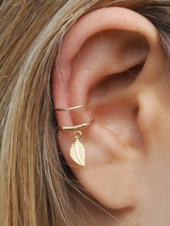 New Arrival Ear cartilage clip non piercing with leaf dangling