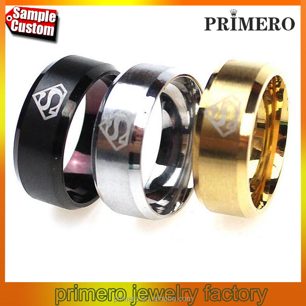 316L Stainless Steel Superman Finger Rings Men's fashion wedding rings