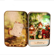 Forest Box DIY Mini Doll house 3D Miniature room Colored Lights+Metal box+Dolls+Wooden support+Furnitures Decoration