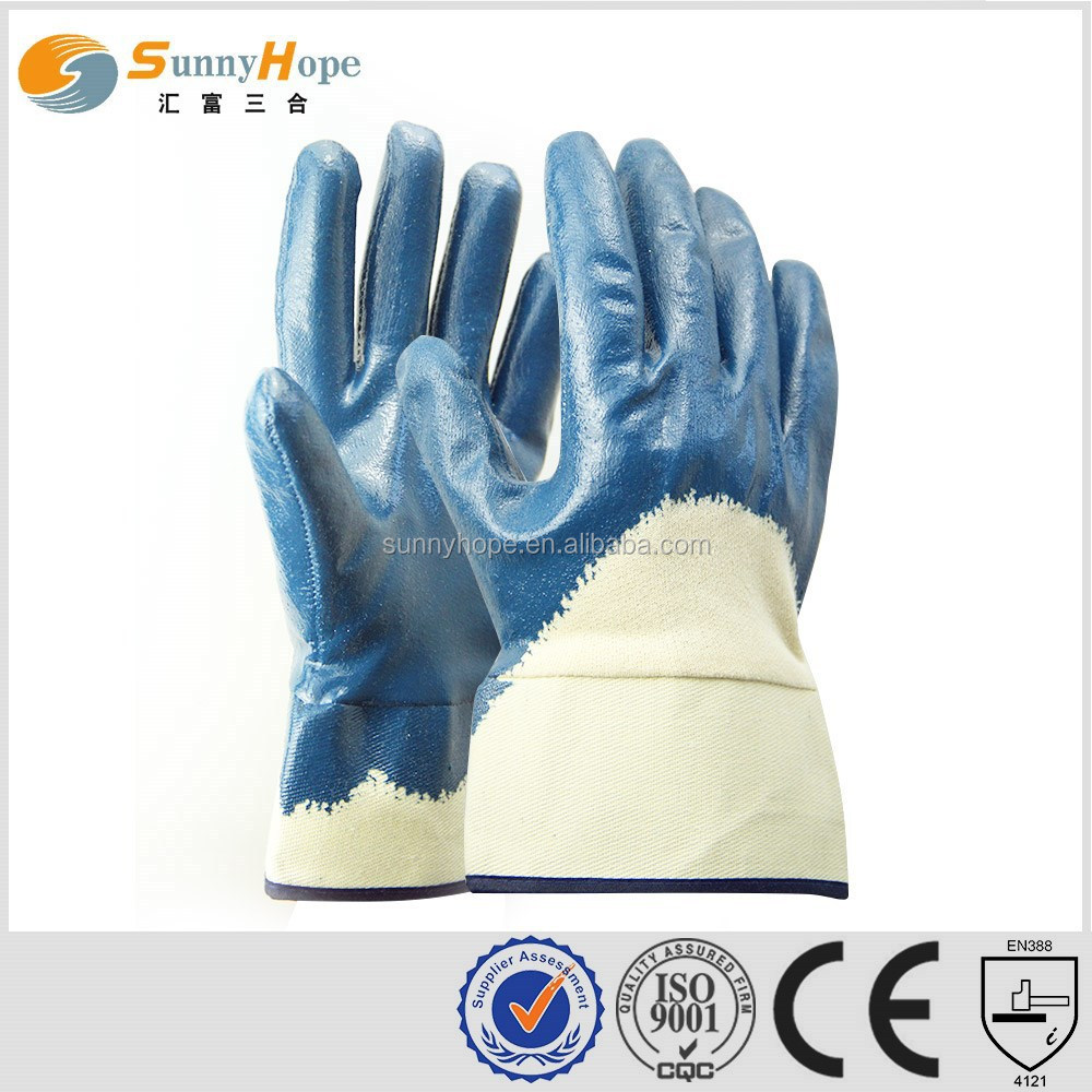 sunnyhope wholesale products nitrile coated gloves with safety cuff