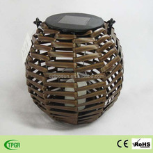Wooden candle bamboo lanterns solar led garden light