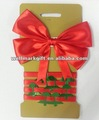 Red Satin Ribbon Christmas Bow Tie with Decorative Ribbon Hank
