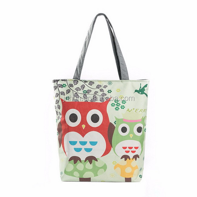 New Owl Printed Canvas Tote Casual Beach Bags Women Shopping