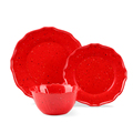 12 Pcs Melamine Dinnerware Set Floral Red Plates Casual Holiday Christmas