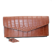 2018 New Ladies Clutch Black Wallet Crocodile Envelope Shape PU Designer Purse
