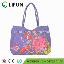 2017 Chinese Tranditional polyester tote bag with Lavender printed bag with floral print