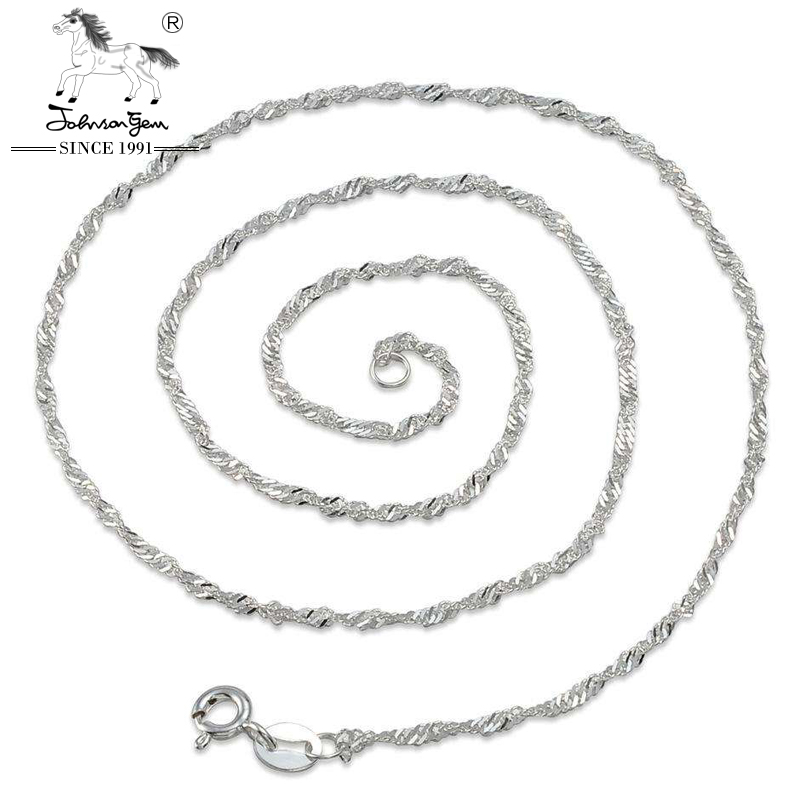Wholesale real Italy 925 sterling silver thin water wave necklace chain 16'' 40+1cm for women