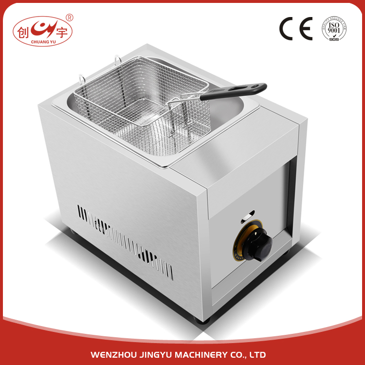 Chuangyu China Alibaba Online Sale 6.55Kg Single Basket Large Gas Pressure Fryer With Stainless Steel Tank