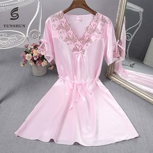New style Mature women silk printing nightgown sexy nighty for honeymoon