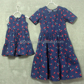 Wholesale 100% cotton floral printing mother and daughter short dresses