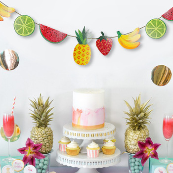 Colorful Paper Fruit Theme Party Banner for Summer Hawaii Party Decoration