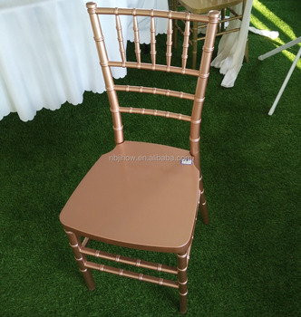 hot sale resin PP wedding rose gold chiavari chair with metal core
