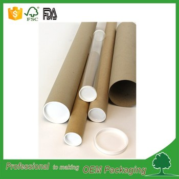 Customized biodegradable paper cardboard kraft mailing tubes for packaging with end caps supplier
