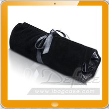 Purple Velvet Jewelry Roll Up Bag Travel Organizer With Zipper Compartments