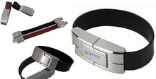 2014 custom usb flash drive wristband Leather Bracelet usb disk Metallic Lock and USB Cover