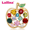 Full Rhinestone Apple Brooches For Women Shinnig Summer Brooch Pin Dress Coat Hat Broches Luxury Jewelry