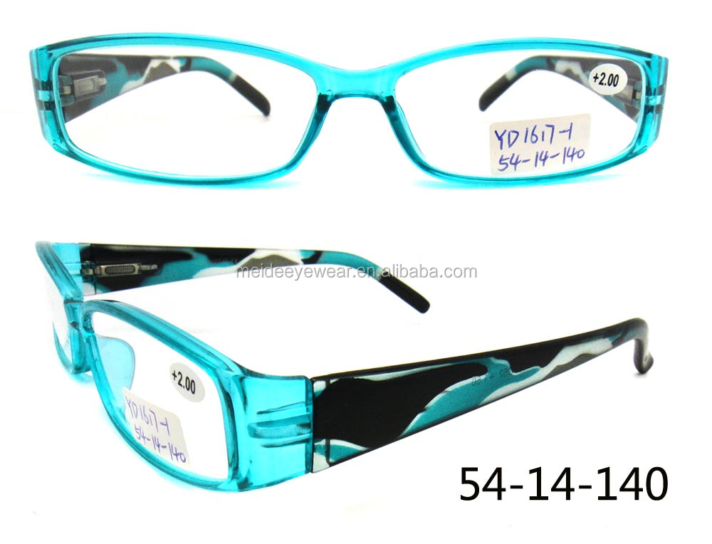 PC plastic slim style with fashion colorful pattern temple lady prescription spectacle reading glasses