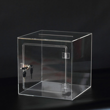 Cube Clear Acrylic Lucky Draw Box Lucite Donation Box with a lock