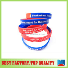 2016 Philippines duterte engraved color filled silicone wristband for president