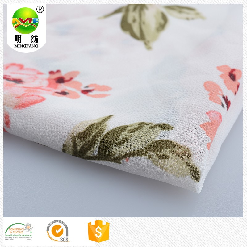 beautiful big hot sale flower designs printed chiffon fabric for women's dress