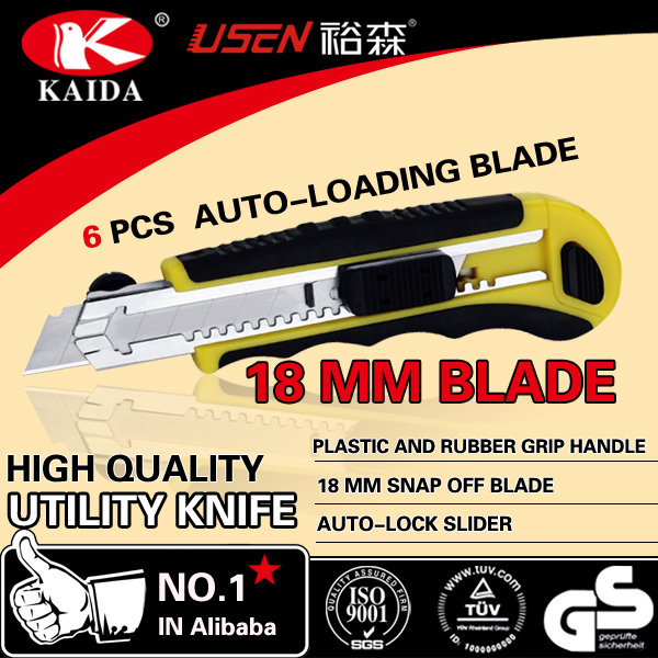 Stationery Cutter 6 PCS Auto Loading 18mm Snap Off Blade Plastic with rubber grip handle Utility Cutter Knife