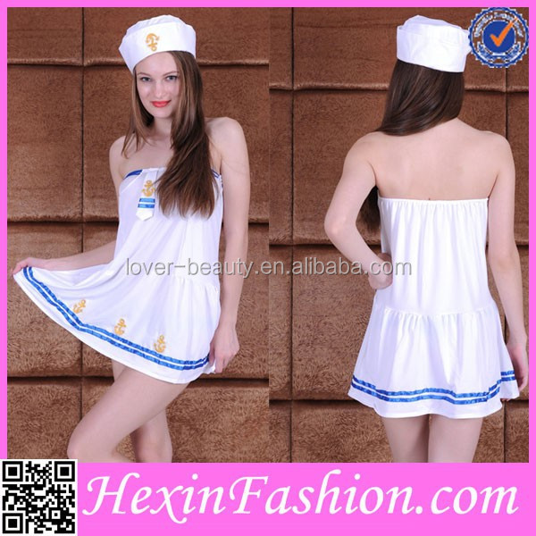 wholesale sleeveless white sailor costume women with hat