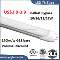 120lm/w output 4' 16/18/22W led tube ballast ByPass T8 LED 5000K in stock