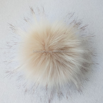 Promotional gift raccoon fur pompom/fur pom poms/faux raccoon fur ball with snap