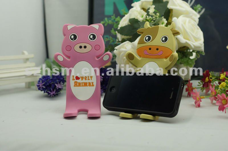 Custom Cheap Cute Cartoon 3D Soft PVC mobile phone holder