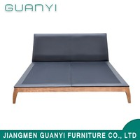 Chinese latest teak wooden frame exotic double bed designs