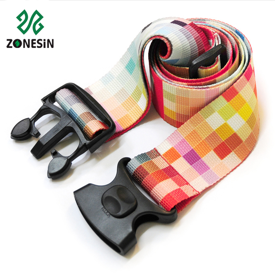 Fashion Design Custom Sublimation Printed Polyester Luggage Tag Strap Belt With Breakaway Buckle