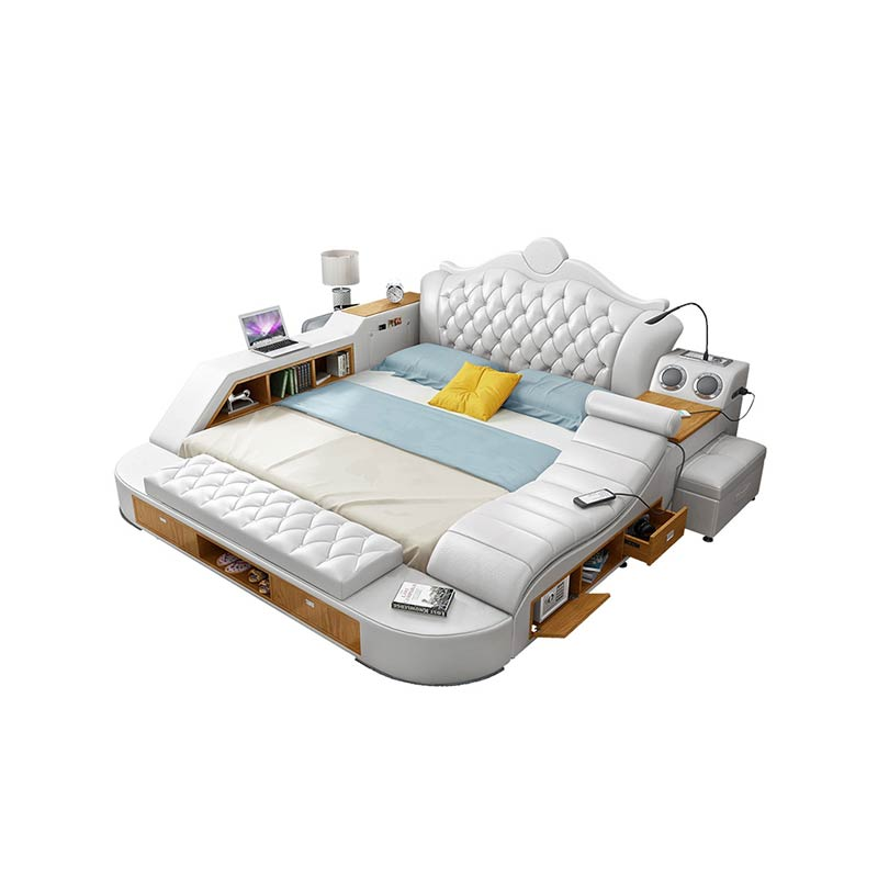 Modern design master bedroom smart <strong>bed</strong> bluetooth speaker and massage Multi-functional leather <strong>bed</strong>